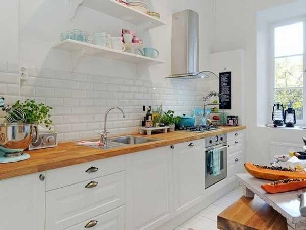 credence cuisine blanc et bois