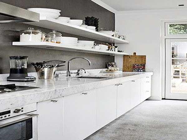 credence cuisine blanche et grise