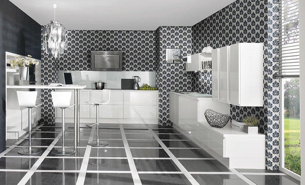 credence cuisine blanche et noire