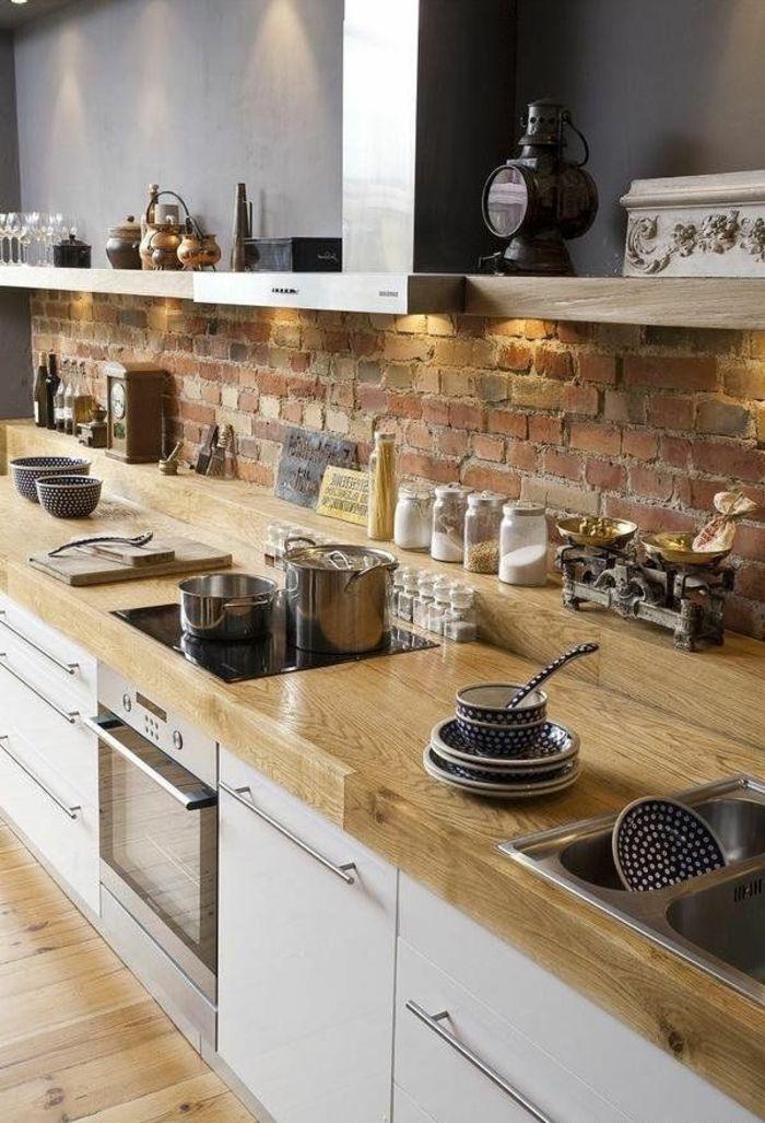 credence cuisine bois brut