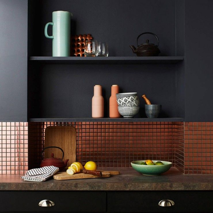 credence cuisine couleur cuivre