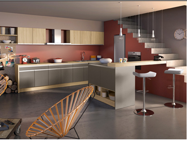 credence cuisine couleur taupe