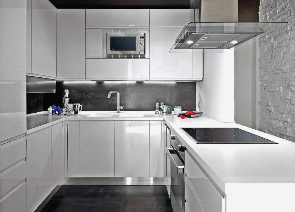 credence cuisine gris et blanc. Black Bedroom Furniture Sets. Home Design Ideas