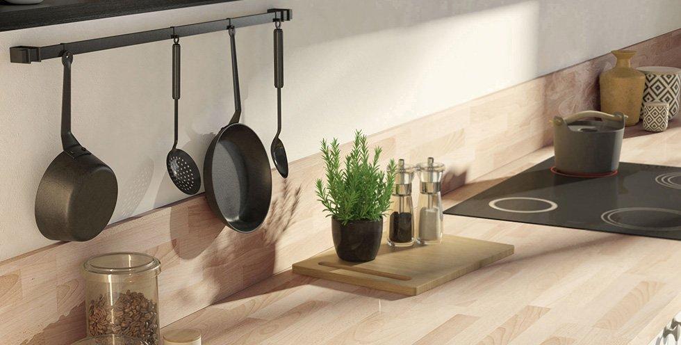 credence cuisine grise et bois