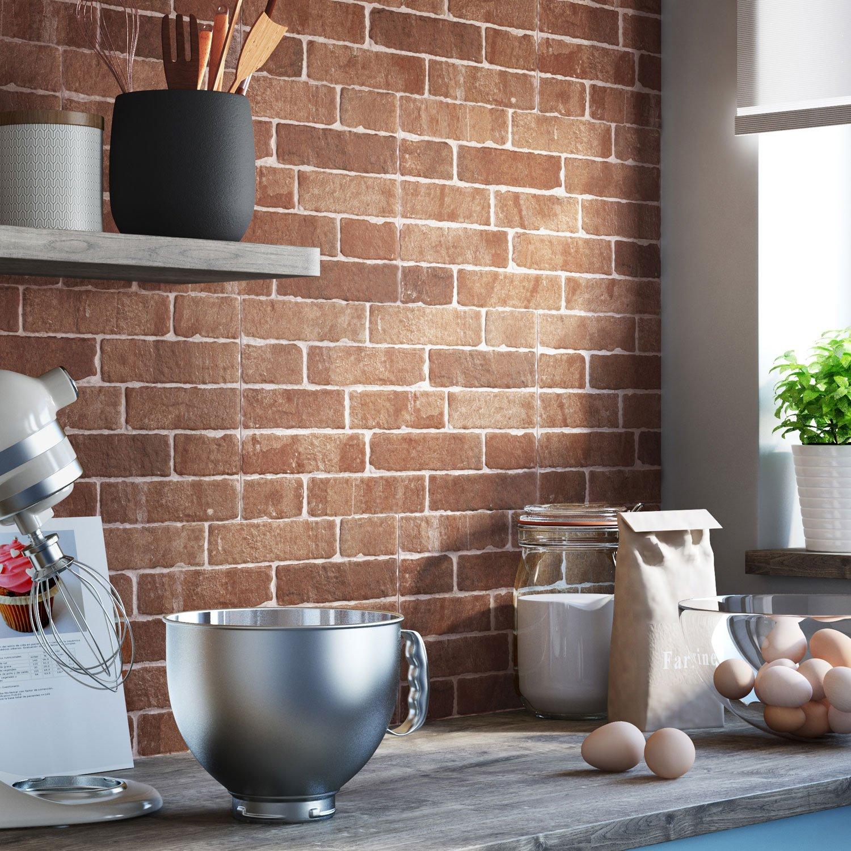 credence cuisine imitation brique