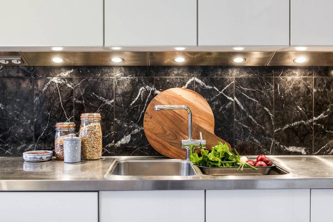 credence cuisine marbre noir