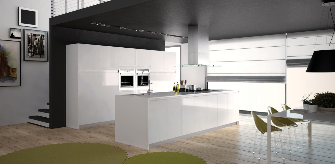 ilot cuisine blanc laque