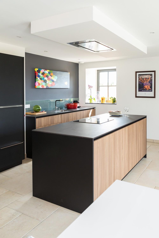 ilot cuisine noir et bois