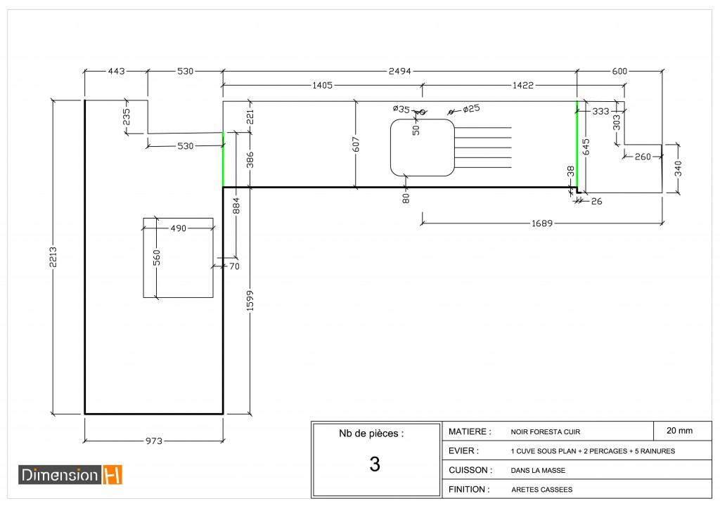 plan de travail cuisine dimensions standard