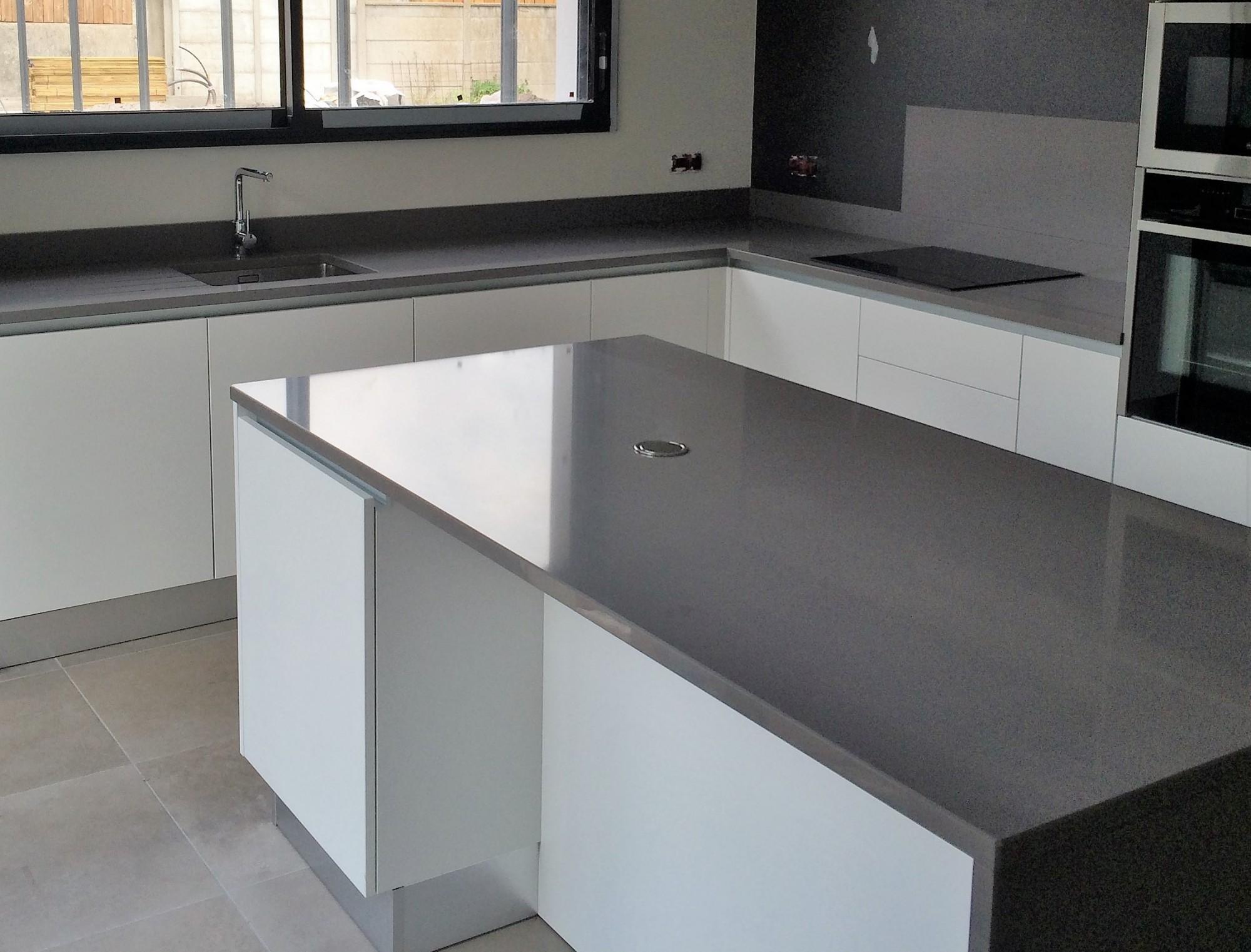 plan de travail cuisine quartz gris