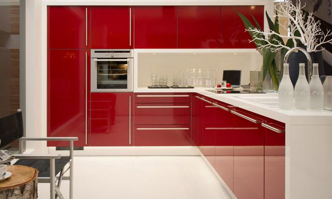 plan de travail cuisine rouge brillant