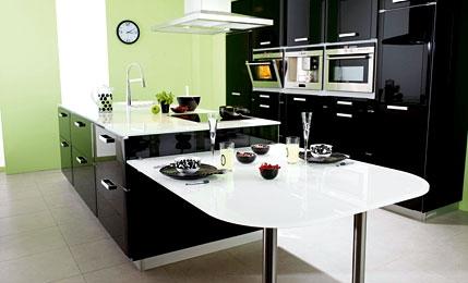 plan de travail cuisine verre noir