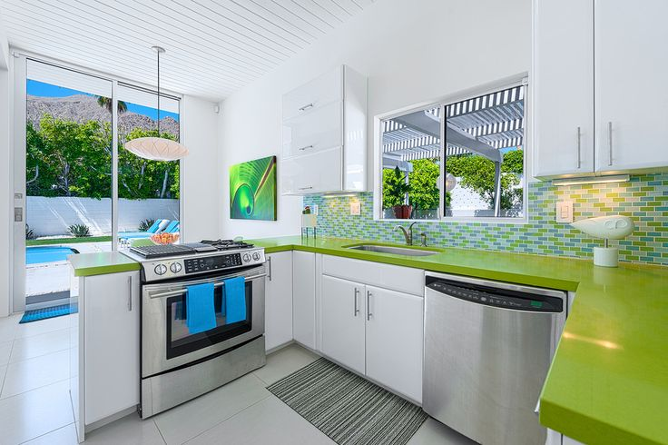 plan de travail cuisine vert fonce