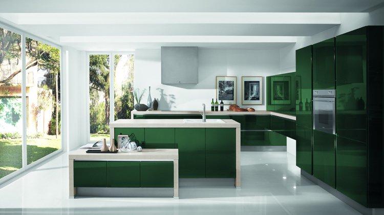 plan de travail cuisine vert pomme