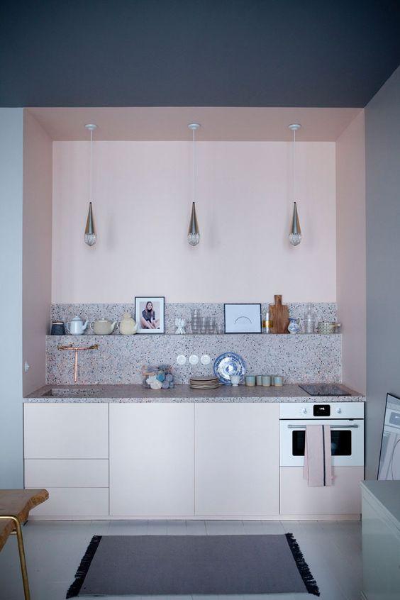 credence cuisine imitation marbre