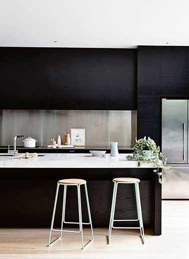 credence cuisine noir mat
