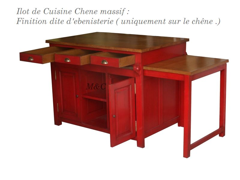 ilot cuisine table coulissante