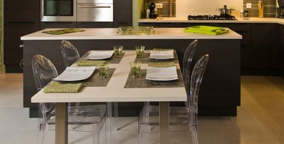 ilot cuisine table escamotable