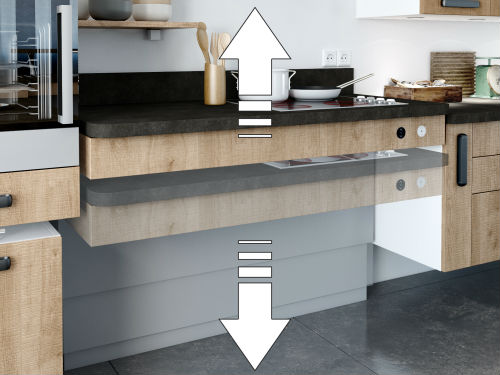 plan de travail cuisine hauteur variable