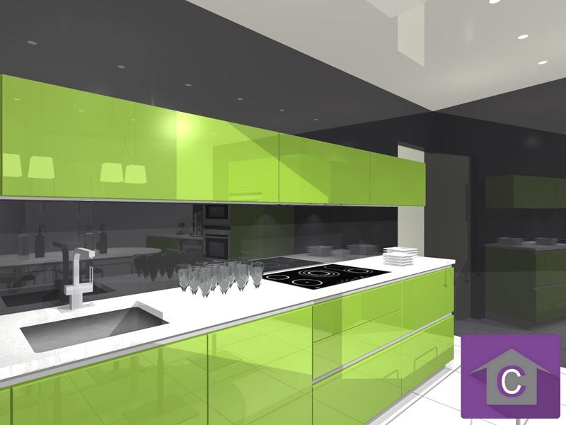 plan de travail cuisine vert anis