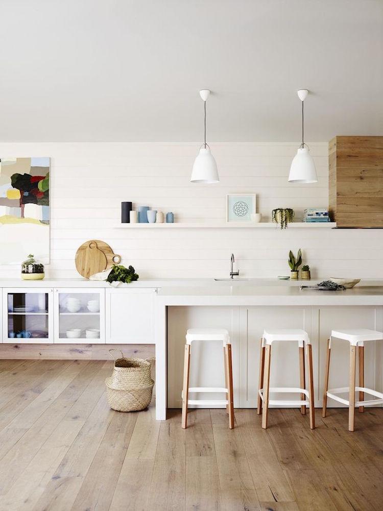 tabouret cuisine blanc et bois